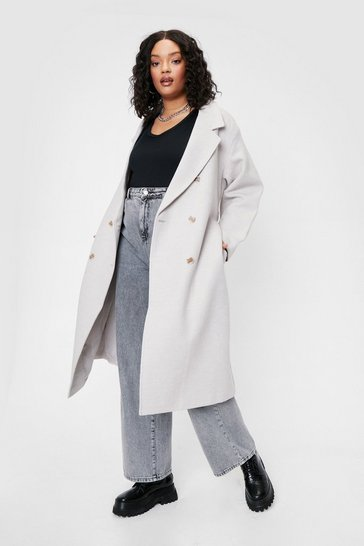 Stone Coat to Self Plus Belted Oversized Coat