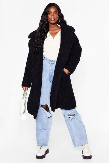 Black Plus Size Longline Faux Fur Coat