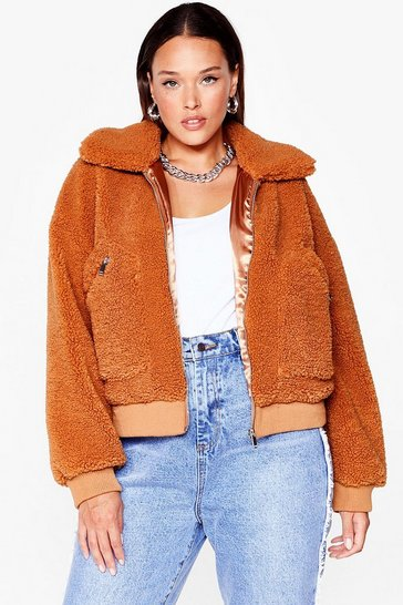 Toffee We're Teddy to Go Plus Faux Fur Cropped Jacket