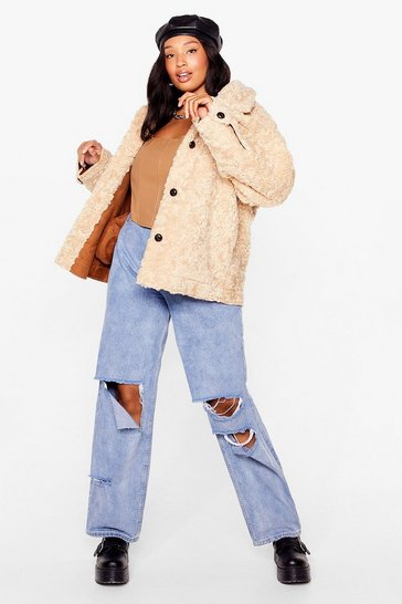 Oatmeal Waiting Fur You Plus Faux Shearling Jacket