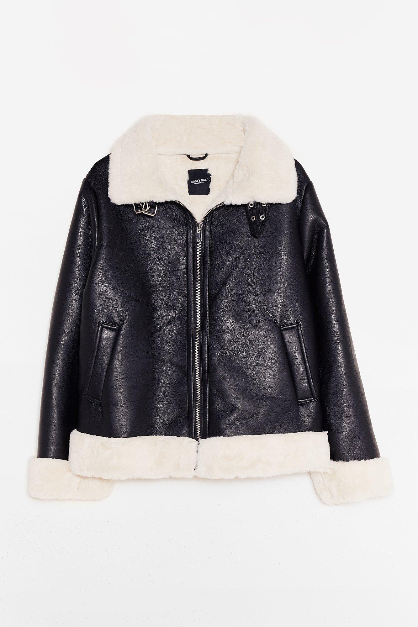 It's Now or Faux Leather Plus Aviator Jacket 13