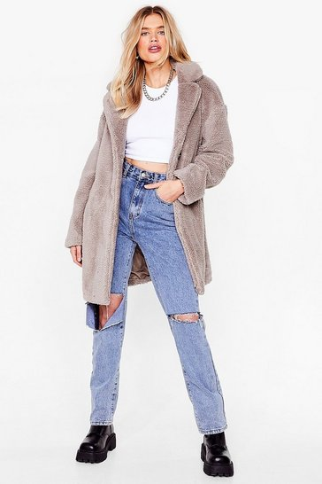 Grey Fur-get Me Not Faux Fur Coat