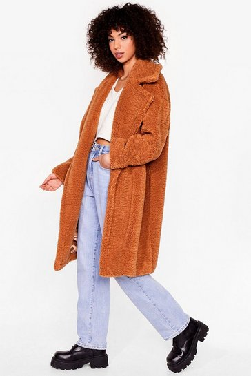 Toffee When You're Teddy Oversized Faux Fur Coat