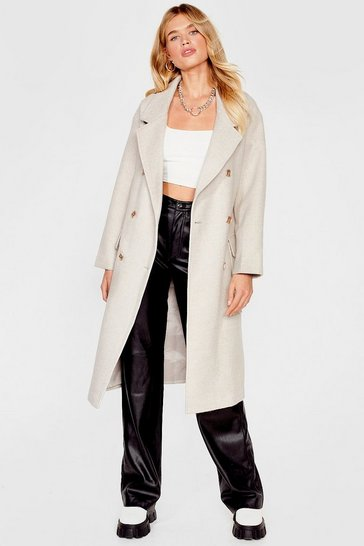 Stone Faux Wool Be There Oversized Coat