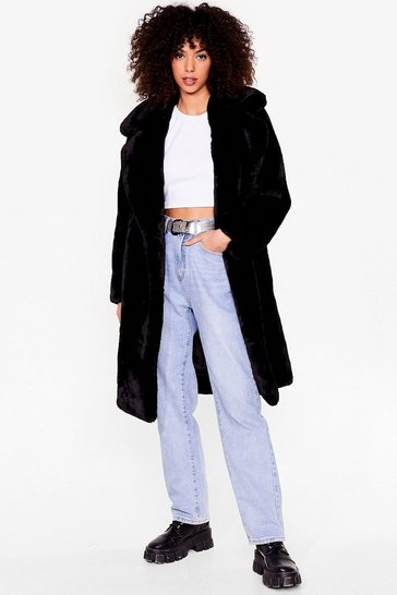 Black Happy Faux Fur You Longline Coat