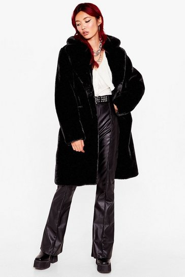 Black Back Faux Fur We Belong Longline Coat