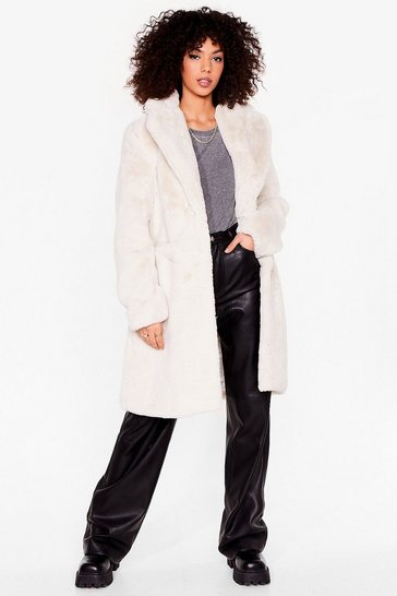 Cream Back Faux Fur We Belong Longline Coat