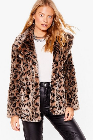 Natural Can't Stop the Feline Faux Fur Leopard Coat