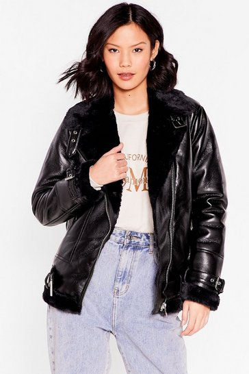 Black See You Aviator High Shine Faux Leather Jacket
