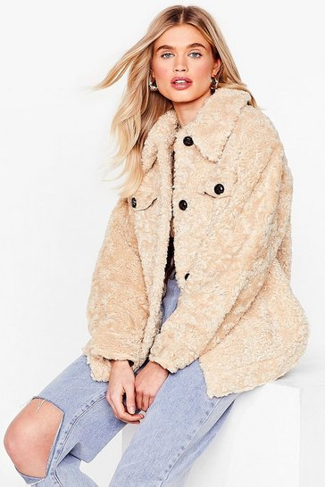 Oatmeal Take the Heat Faux Shearling Shirt Jacket
