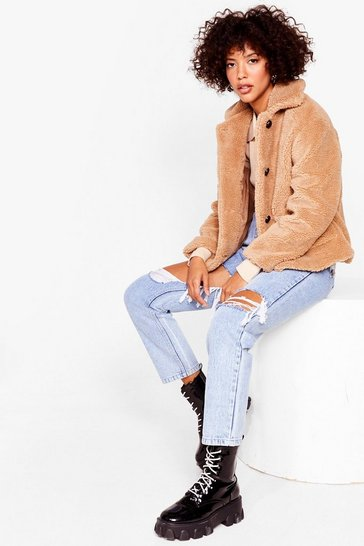 Camel Button Through Teddy Faux Fur Jacket