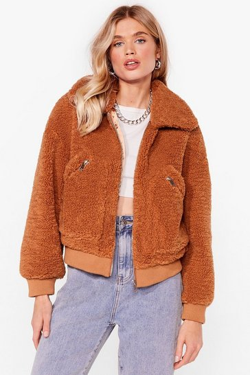 Toffee Zip Through Faux Fur Teddy Bomber