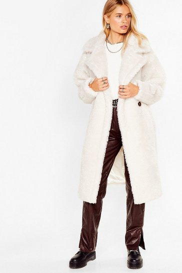 Cream We're Teddy Faux Fur You Oversized Coat
