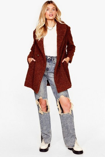Chocolate Faux Fur Up to Something Longline Jacket
