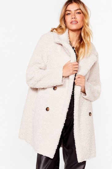 Cream Faux Fur Up to Something Longline Jacket