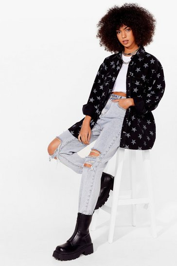Washed black Star Print Oversized Denim Shirt