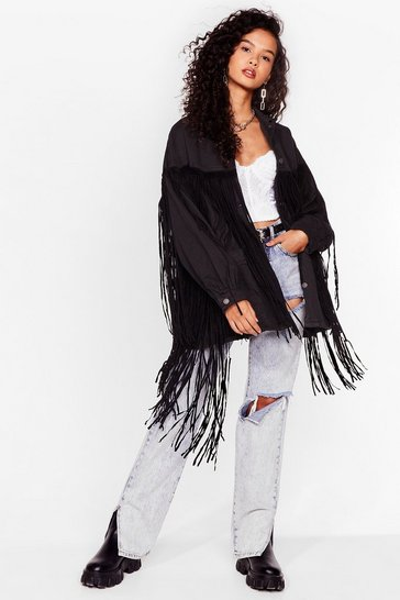 Washed black In It To Fringe It Oversized Denim Jacket