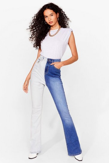 Blue Two Tone Denim Flared Jeans