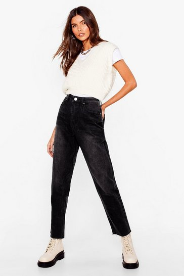 Black Lay Down the Raw Hem Mom Jeans