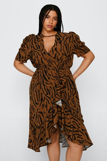 Brown Plus Size Tiger Wrap Midi Dress