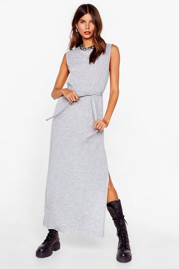 Grey Tie Candy Belted Midi Dress