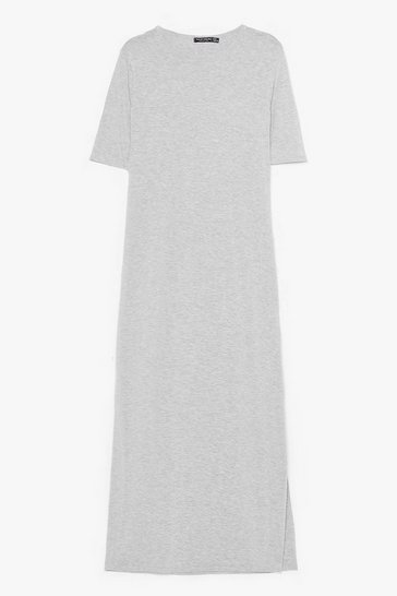 Grey Split Decision Maxi Tee Dress