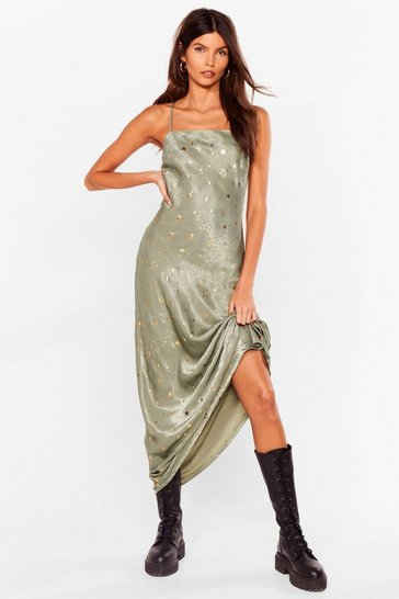 Sage Star Power Satin Maxi Dress