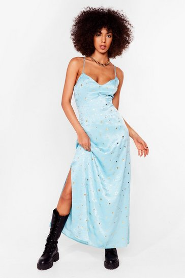 Teal Star Crossed Lovers Satin Maxi Dress