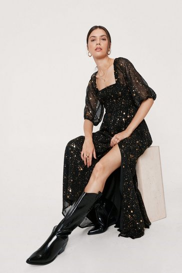 Black Starry Eyed Metallic Maxi Dress