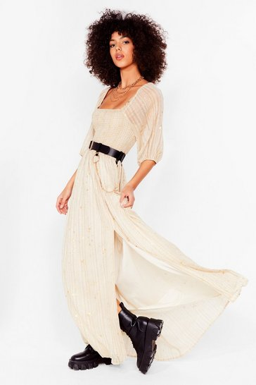 Cream Starry Eyed Metallic Maxi Dress