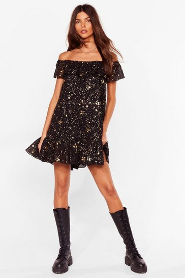Black Star Off the Shoulder Mini Smock Dress