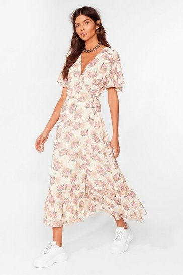 Cream Summer Days Floral Wrap Midi Dress