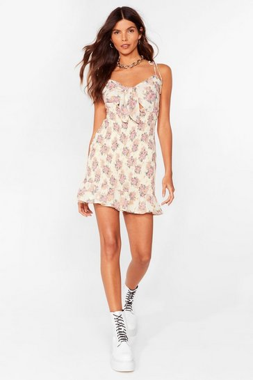 Cream Floral Shirred Mini Cami Dress