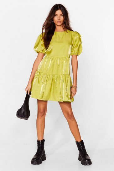 Lime Smock It to Me Puff Sleeve Mini Dress