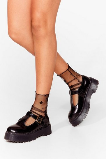 Black Mesh Foot Forward Star Ankle Socks