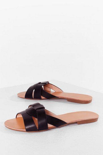 Black The Woven One Faux Leather Flat Sandals