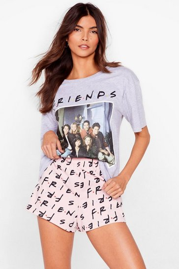 Pink Friends Graphic Tee and Shorts Pajama Set