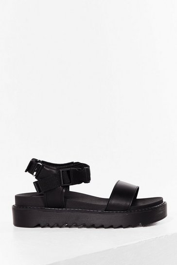 Black Snap Them Up Buckle Faux Leather Sandals
