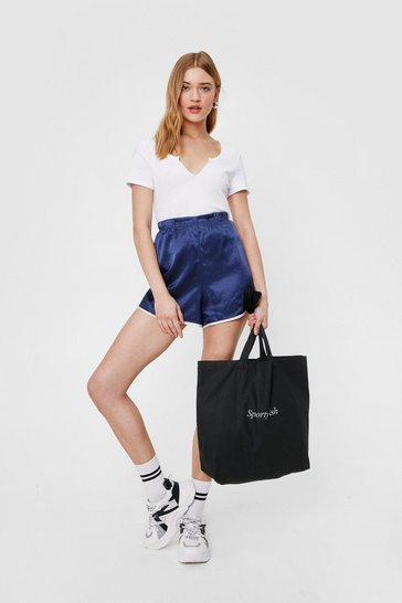 Black We're Sporty-ish Graphic Canvas Tote Bag