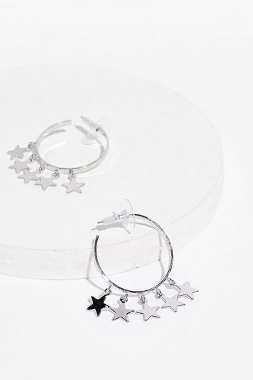 Silver Our Lucky Charm Hoop Star Earrings