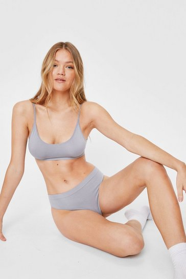 Grey Seamless Nights Scoop Neck Bralette