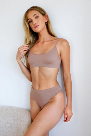 Mocha Seamless Nights Scoop Neck Bralette