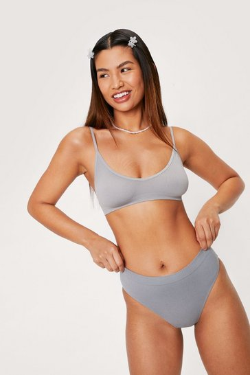 Grey Seamless Nights High-Leg Thong