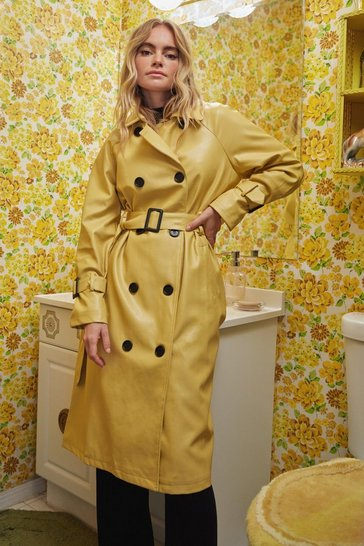 Ochre Time is on My Shine Belted Trench Coat
