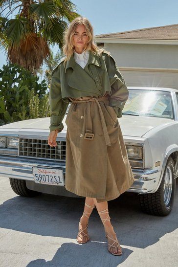 Khaki Back to Mac Oversized Trench Coat