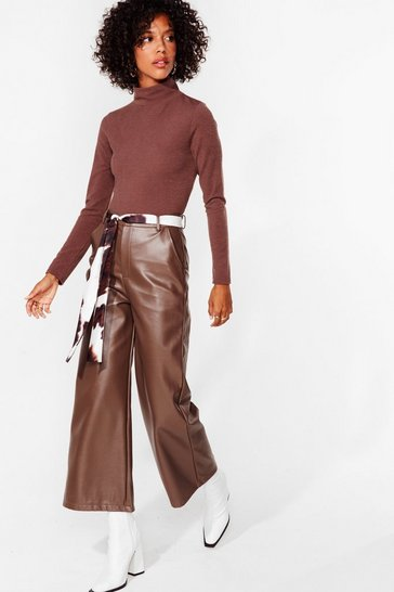 Chocolate The Hustle Faux Leather Cropped Pants