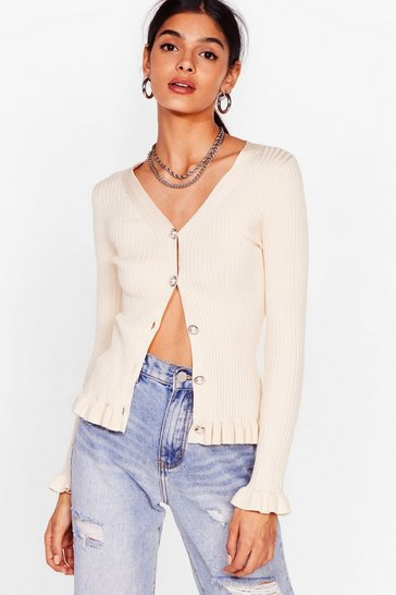 Cream New Pearl in Town Ribbed Ruffle Cardigan