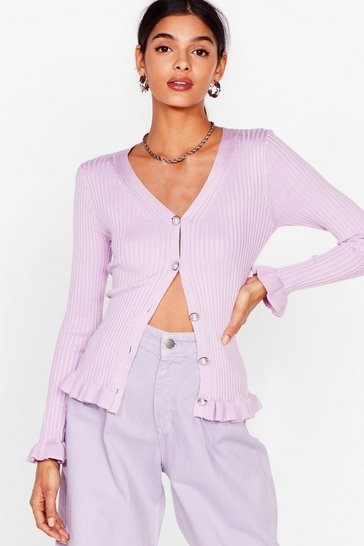 Lilac Pearl button ribbed ruffle