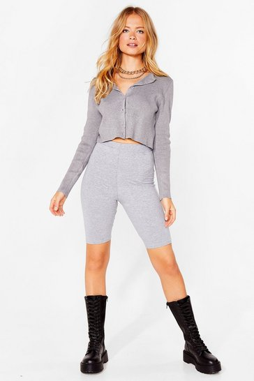 Grey marl Hit the Road Longline Biker Shorts