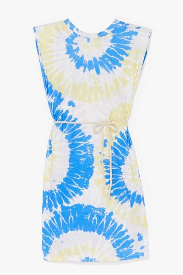 Blue Tie Dye Rib Belted Shoulder Pad Dress